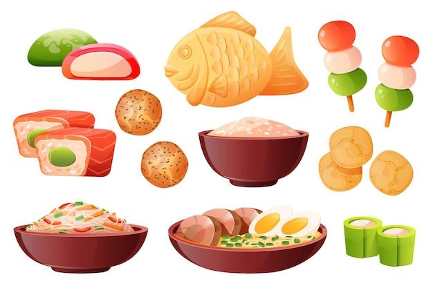Zestaw tradycyjnych japońskich potraw