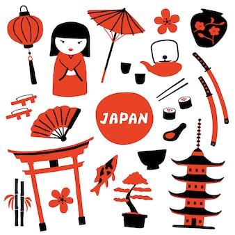 Zestaw tradycyjnych japońskich symboli.
