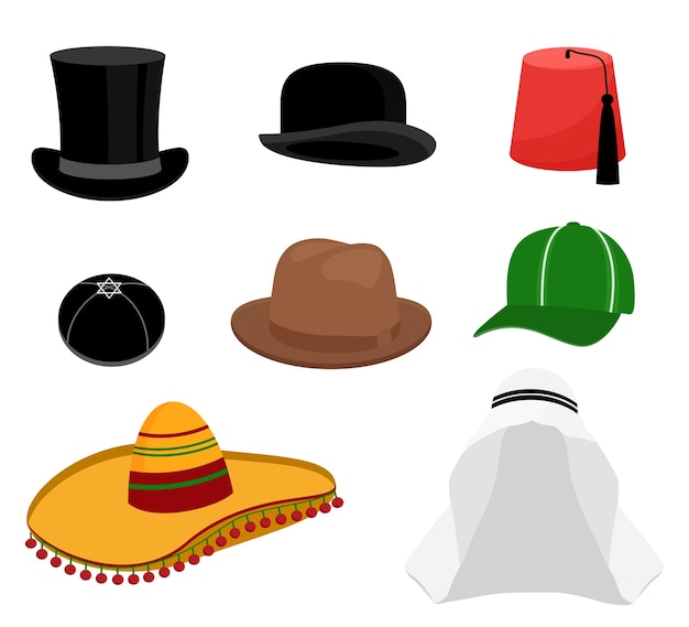 Zestaw tradycyjnych kapeluszy
