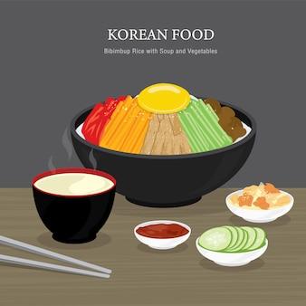 Zestaw tradycyjnych koreańskich potraw, ryż bibimbap z zupą i sałatką z warzyw. ilustracja kreskówka