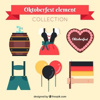 Zestaw tradycyjnych kostiumów i elementów oktoberfest w płaskim stylu