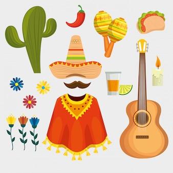 Zestaw tradycyjnych meksykańskich elementów