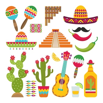 Zestaw tradycyjnych meksykańskich symboli