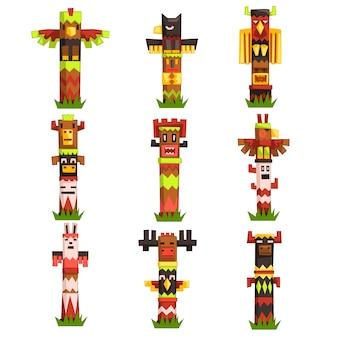 Zestaw tradycyjnych religijnych słupów totemów, symbol plemienny kultury tubylczej, rzeźbione maski bożka wektorowe ilustracje