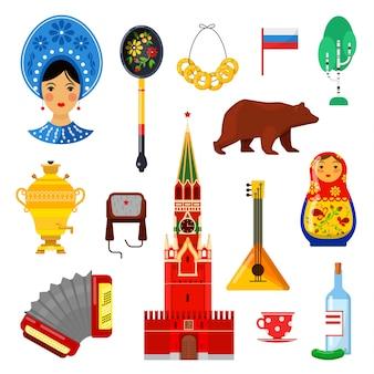 Zestaw tradycyjnych rosyjskich atrybutów na białym tle