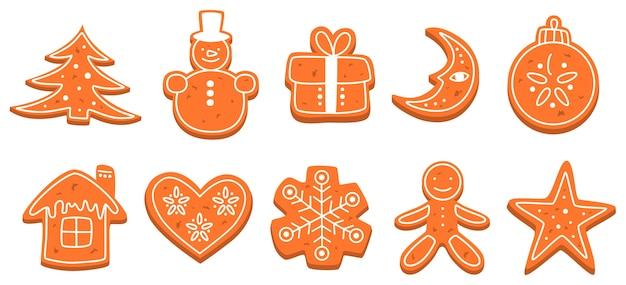 Zestaw tradycyjnych słodkich ciasteczek świątecznych pieczonych. piernik na stół uroczystości. pyszny deser. ilustracja na białym tle płaski wektor