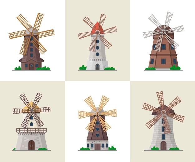 Zestaw tradycyjnych starych wiatraków