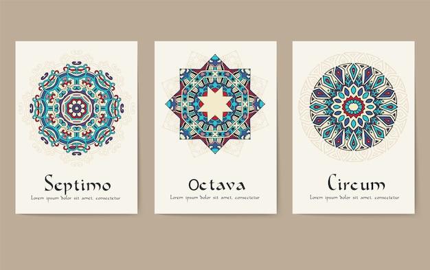 Zestaw tradycyjnych stron ulotki ornament zestaw koncepcji. vintage art tradycyjne motywy otomana.