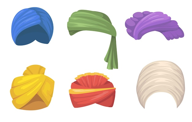 Zestaw tradycyjnych turbanów. indyjskie i arabskie kapelusze, kolorowe pożary nakrycia głowy sikh na białym tle. płaska ilustracja