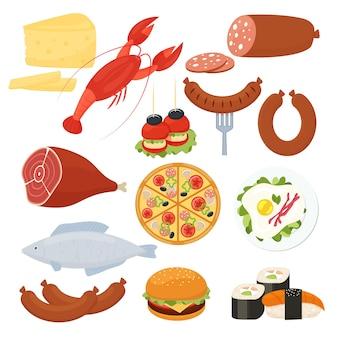 Zestaw tradycyjnych wektor ikon żywności dla menu z homarem salami pizza cheeseburger pieczone mięso jajka sadzone kiełbasa ryby sushi ser owoce morza i przekąski canape