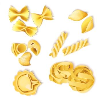 Zestaw tradycyjnych włoskich makaronów
