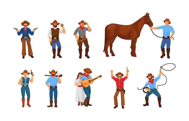 Zestaw tradycyjnych znaków dzikiego zachodu. vintage western kowboj, szeryf, para, koń ubrany w etniczne ubrania i broń. ludzie w retro stroju butach, czapkach, cygarowym wektorze kreskówki