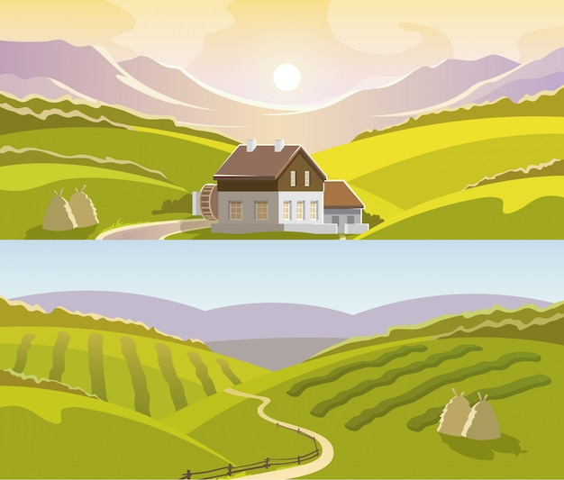 Zestaw transparent górski krajobraz