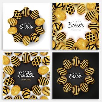 Zestaw transparent jajko wielkanocne. kolekcja kart wielkanocnych z jajkami ułożonymi w okrąg na czarnym talerzu, złote i czarne ozdobne jajka