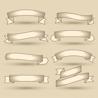 Zestaw transparent starodawny wstążki