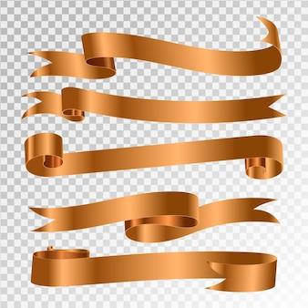 Zestaw transparent wstążka. złote wstążki.