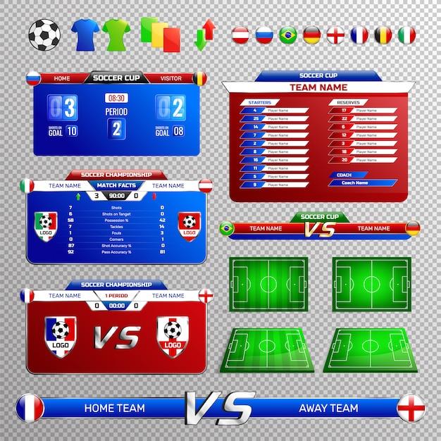 Zestaw transparentnych elementów transmisji piłki nożnej