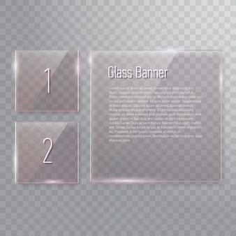 Zestaw transparentnych, odblaskowych kwadratowych szklanych banerów