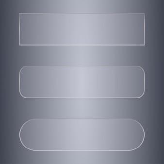 Zestaw transparentnych transparentów szklanych lub przycisków do projektowania