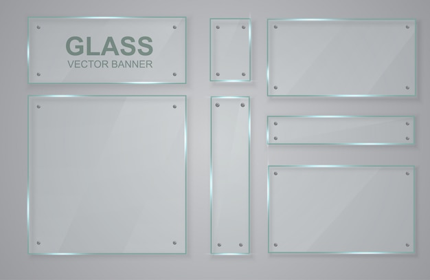 Zestaw transparentnych transparentów wykonanych ze szkła. szklana rama.