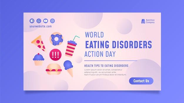 Zestaw transparentów dnia akcji zaburzeń odżywiania świata gradientu