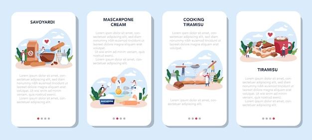 Zestaw transparentu aplikacji mobilnej deser tiramisu. ludzie gotują pyszne włoskie ciasto. słodki kawałek piekarni restauracji.