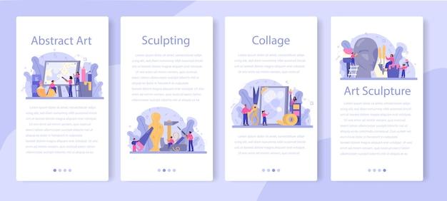 Zestaw transparentu aplikacji mobilnej edukacji artystycznej
