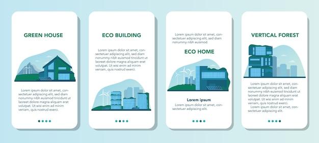 Zestaw transparentu aplikacji mobilnej ekologii. ekologiczny budynek mieszkalny z pionowym lasem i zielonym dachem. alternatywne źródła energii i zielone drzewo dla dobrego środowiska w mieście. ilustracji wektorowych