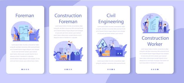 Zestaw transparentu aplikacji mobilnej foreman