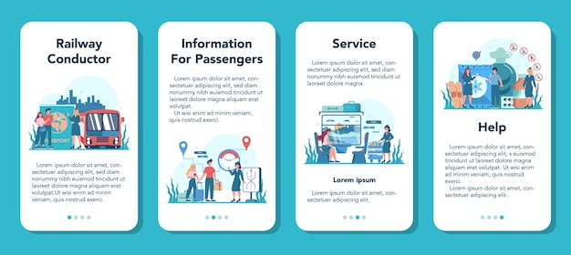 Zestaw transparentu aplikacji mobilnej konduktora kolejowego. pracownik kolei w mundurze na służbie. konduktor pociągu pomaga pasażerowi w podróży. podróż pociągiem.