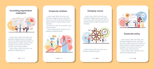 Zestaw transparentu aplikacji mobilnej organizacji korporacyjnej