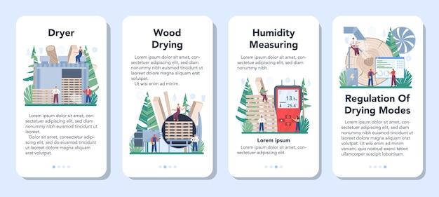 Zestaw transparentu aplikacji mobilnej przemysłu drzewnego