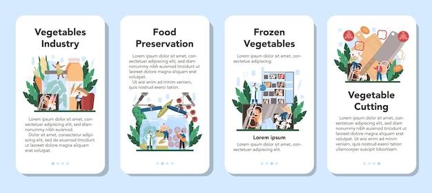 Zestaw transparentu aplikacji mobilnej przemysłu warzywnego.
