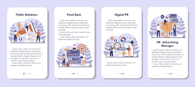 Zestaw transparentu aplikacji mobilnej public relations