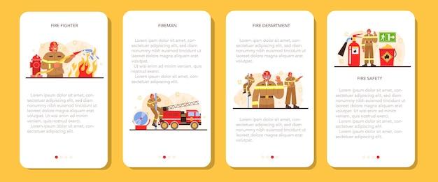 Zestaw transparentu aplikacji mobilnej strażaka. profesjonalna straż pożarna