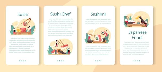 Zestaw transparentu aplikacji mobilnej szefa kuchni sushi