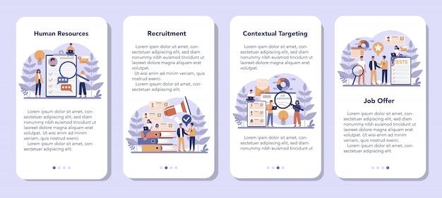 Zestaw transparentu aplikacji mobilnej zasobów ludzkich. idea rekrutacji