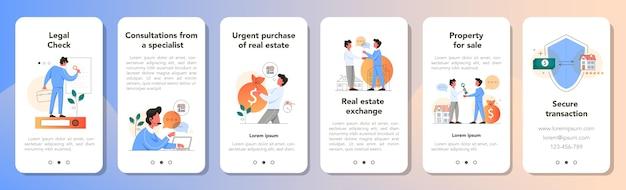 Zestaw transparentu aplikacji przewagi nieruchomości. pomysł na sprzedaż i wynajem domu. bezpieczna transakcja, kredyt hipoteczny i wynajem. konsultacje z wykwalifikowanym agentem nieruchomości. ilustracja