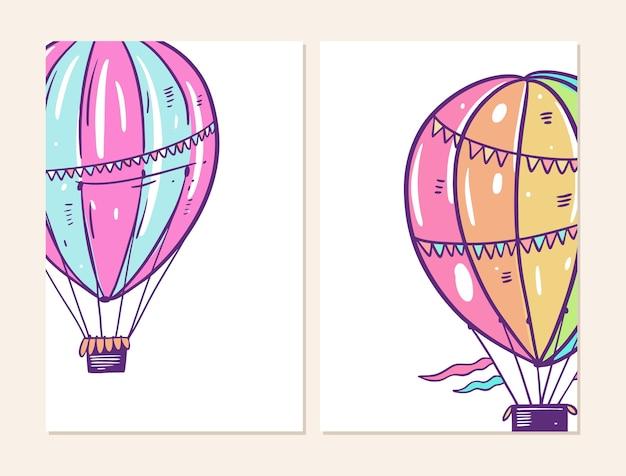 Zestaw transparentu dwóch balonów powietrznych. w stylu kreskówki. na białym tle projekt dla potser, banner, web.