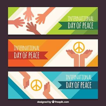 Zestaw transparentu dzień pokoju z rąk w płaskim stylu