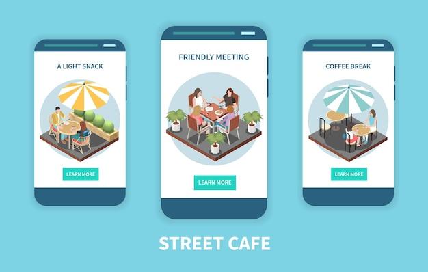 Zestaw transparentu izometrycznego trzech ulicznych kawiarni tarasu