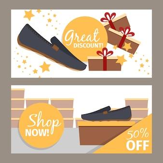 Zestaw transparentu męskich butów sklepowych
