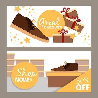 Zestaw transparentu męskiego sklepu z butami zimowymi