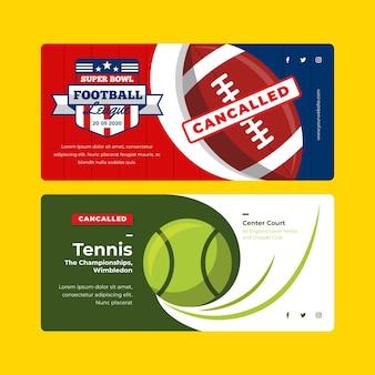 Zestaw transparentu odwołanych wydarzeń sportowych