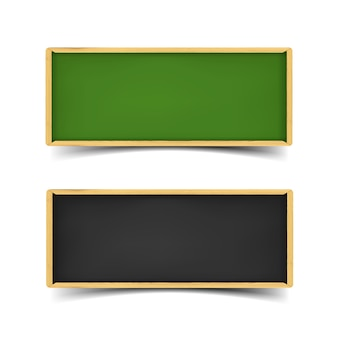 Zestaw transparentu rady szkoły. realistyczna ilustracja zielonych i czarnych desek z kredą i drewnianymi obramowaniami. poziome bannery internetowe z cieniem na białym tle.