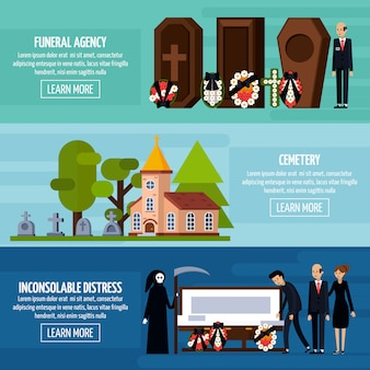 Zestaw transparentu usług pogrzebowych