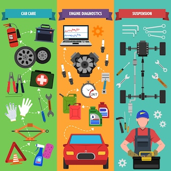 Zestaw transparentu usług samochodowych
