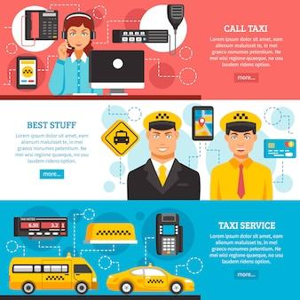Zestaw transparentu usług taksówkowych