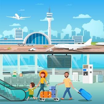 Zestaw transparentu wnętrza lotniska