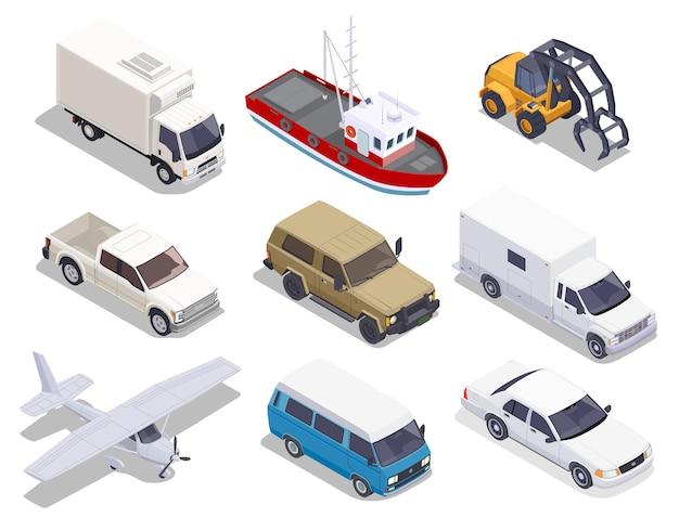 Zestaw transportowy izolowanych izometrycznych samochodów ciężarowych samolot i łódź